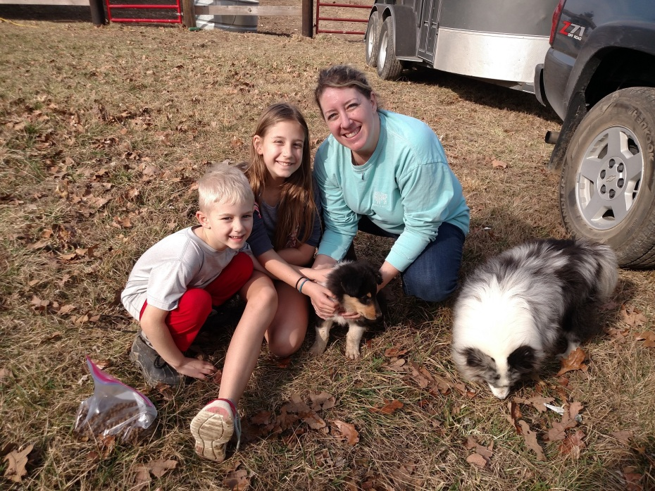 Duke with his new family.